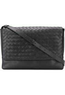 Bottega Veneta Woven Leather Shoulder Bag - Preto
