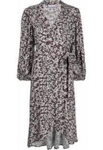 Ganni Vestido Envelope Com Estampa Floral - Preto