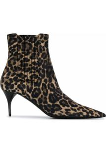 Saint Laurent Bota Com Estampa De Leopardo - Neutro
