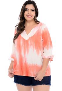 Blusa Forma Rara Plus Size Coral Tie Dye-58