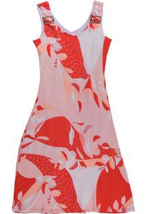 Vestido Curto Com Alça Estampado Rosa