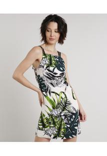 Vestido Feminino Curto Estampado De Folhagem Com Vazado Alças Finas Bege Claro