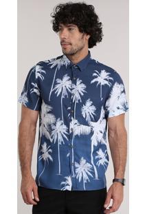 Camisa Estampada De Coqueiros Azul Marinho