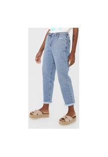 Calça Jeans Cantão Boyfriend Desfiada Azul