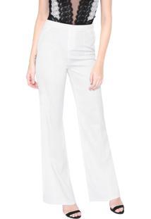Calça Lança Perfume Pantalona Recorte Off-White