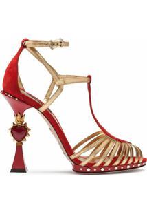 Dolce & Gabbana Sandália Com Salto Esculpido - Vermelho