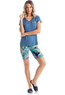 Pijama Agua Marinha C/ Bermuda - P517 Verde/P