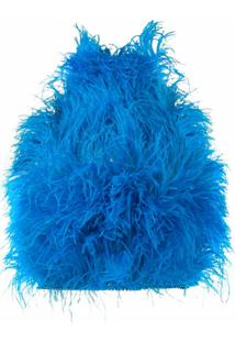 The Attico Blusa Cropped Com Bordado - Azul