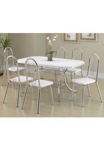 Mesa 1507 Branca Cromada Com 6 Cadeiras 182 Branca Carraro