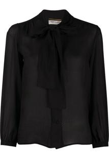 Saint Laurent Textured Pussy-Bow Fastening Blouse - Preto