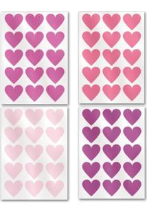 Adesivo De Parede Meu Primeiro Quartinho Coração Flamingo Rosa