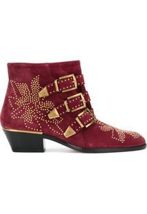 Chloé Ankle Boot De Couro 'Susanna' - Vermelho