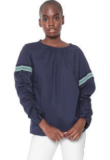 Blusa Colcci Drapeada Azul-Marinho