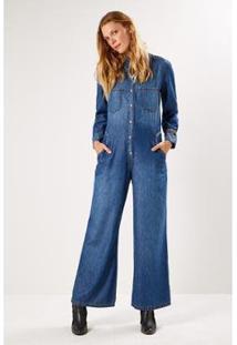 Macacão Jeans Sacada A Fio Feminino - Feminino