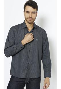 Camisa Slim Fit Com Bordado Frontal- Preta & Azul Clarovip Reserva