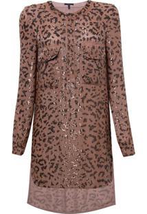 Camisa Rosa Chá Leopard Estampado Feminina (Leopard Print, G)