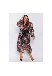 Vestido Plus Size Feminino Lisamour Em Tule Estampado