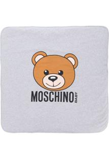 Moschino Kids Cobertor Com Estampa De Urso - Cinza