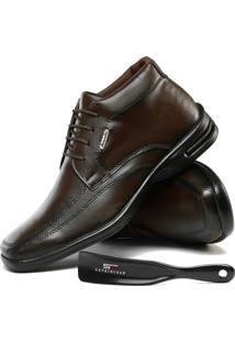 Sapato Casual Social Sapatofran Ortopédico Confort Café Com Calçadeira