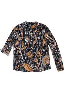 Camisa Feminina Em Tecido Com Martingale