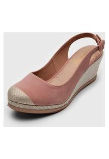 Sandália Dafiti Shoes Anabela Rosa/Bege