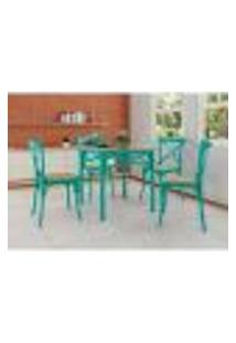 Conjunto De Mesa De Jantar Com 4 Cadeiras E Tampo De Vidro Katrina Azul Turquesa