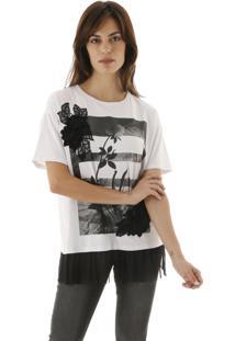 Camiseta Lisa De Malha Com Silk De Flores E Babadinho De Tule Aha