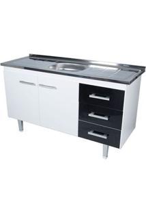 Gabinete De Cozinha New Milano 147,3X55Cm Branco E Preto Bonatto