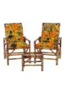 Conjunto Mesa E 2 Cadeiras De Bambu Cancun Para Área Edicula Jardim G15