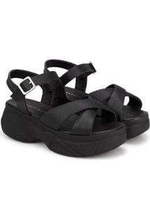Sandália Napa Naturale Plataforma Sapatinho De Luxo Feminina - Feminino-Preto