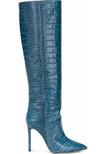 Paris Texas Bota Com Efeito Pele De Crocodilo E Salto 110Mm - Azul