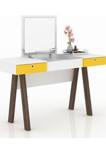 Penteadeira Escrivaninha Com Espelho Tecno Mobili - Branco/Amarelo/Noce - Multistock