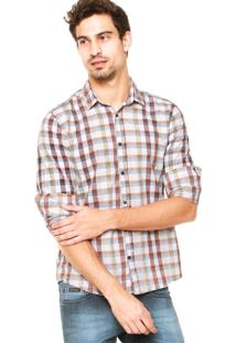 Camisa Calvin Klein Jeans Xadrez Branca/Marrom