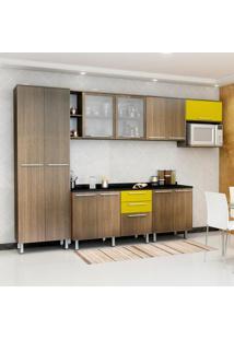 Cozinha Compacta Cheff Iii 11 Pt 3 Gv Carvalho E Amarelo Gema