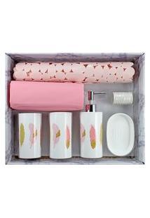 Kit De Banheiro Completo Jacki Design 6 Peças Branco E Rosa Cozy