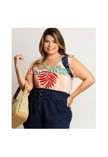 Blusa Plus Size Feminina Estampa Tropical Babado
