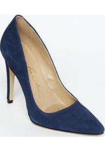 Scarpin Em Couro Liso Com Recorte- Azul Marinho- Salluiza Barcelos