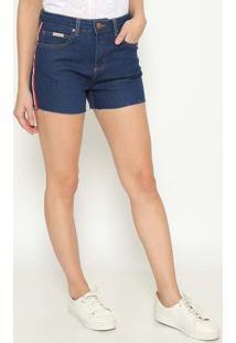 Short Jeans Com Faixas - Azulcalvin Klein