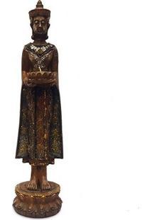 Estátua Rústica De Buda C/ Porta-Vela