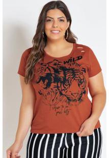T-Shirt Caramelo Plus Size Com Efeito Rasgado