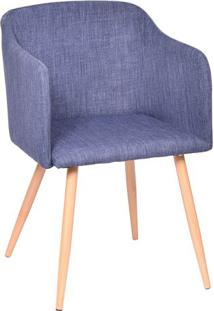 Poltrona Charlote- Jeans Azul & Madeira Clara- 80X54Or Design
