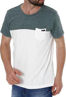 Camiseta Manga Curta Masculina Verde/Off White