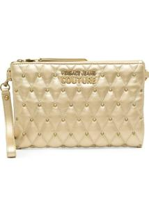 Versace Jeans Couture Metallic-Tone Studded Clutch Bag - Dourado