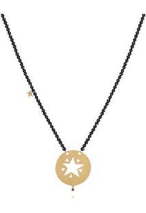 Colar Emblema Estrela Contas Oa C Contas Espinelio/ D. Black