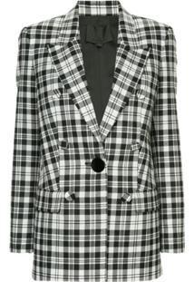 Alexander Wang Single Breasted Plaid Blazer - Branco