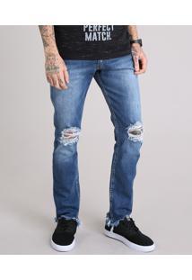 Calça Jeans Slim Destroyed Com Barra Assimétrica Desfiada Azul Escuro