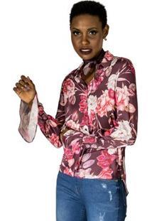 Camisa Floral Com Lenço Alphorria A. Cult - Feminino-Roxo