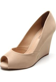 Peep Toe Dafiti Shoes Anabela Bege