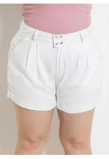 Short Feminino Plus Size Branco