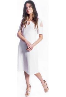 Vestido Carbella Decote Malha Favo Branco